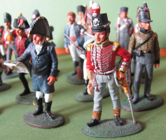 Mixed lot with 20 pewter figures painted in full plastic - Tin soldiers from the Napoleonic Wars