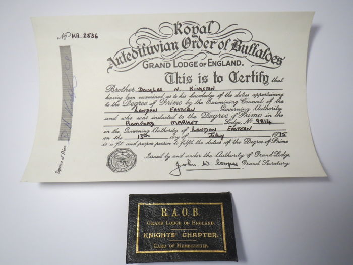 The Masonic donation certificate for the Buffalo Lodge No9814 1975-+Memorandum of laws ROAB 1922