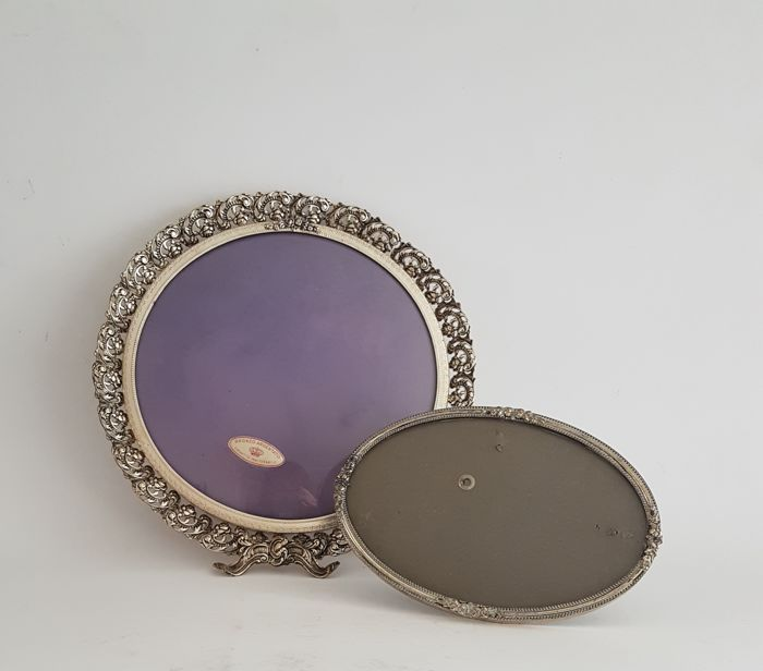Two Old Silver Plated Photo Frames With Convex Glass Round Oval