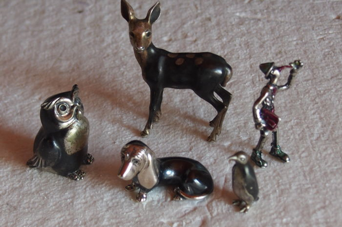 No.  10 Silver Miniatures of Animals, nice and Detailed Italy, 20th c