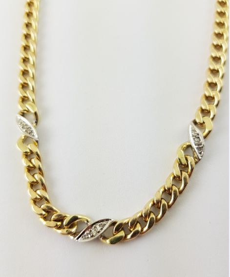 14 kt gold necklace - 9 small brilliant cut diamonds - 0.09 ct in total - 43.00 cm long