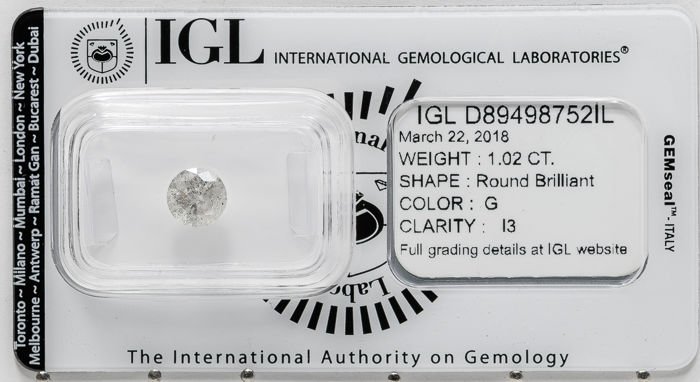 1.02 ct brilliant cut diamond  G / I3   **** No Reserve ****