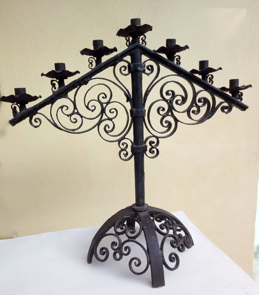 Seven-light Candelabra in wrought iron, Spain, early 20th century