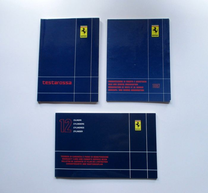 A set of Ferrari Testarossa handbooks - year 86/87