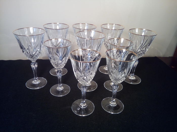 Cristal Darques Verres.Cristal D Arques Service Of 10 Stemmed Glasses In Cut Crystal Rimini