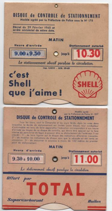 Great lot of 3 old parking control discs, Total, Shell and Labo