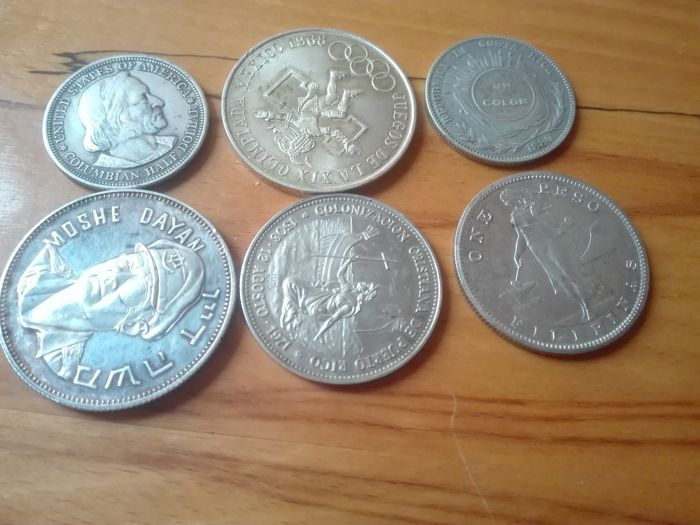 World - Lot various coins + Medal 1893/1971 (6 different)  - silver