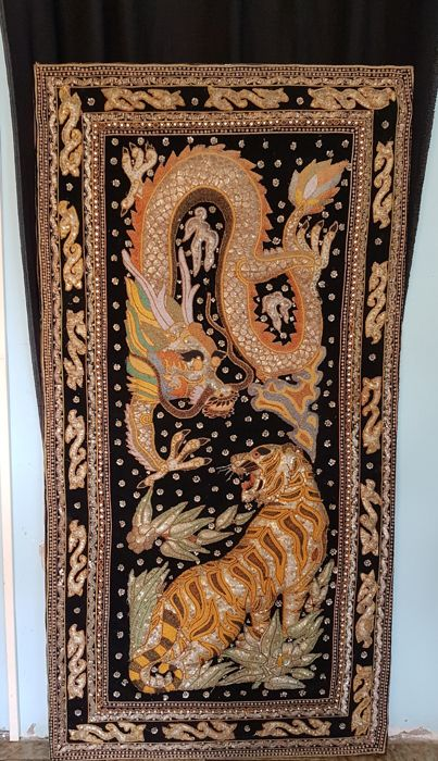 Fabric painting with cubic zirconia depicting Tiger and Dragon - India - 1960s