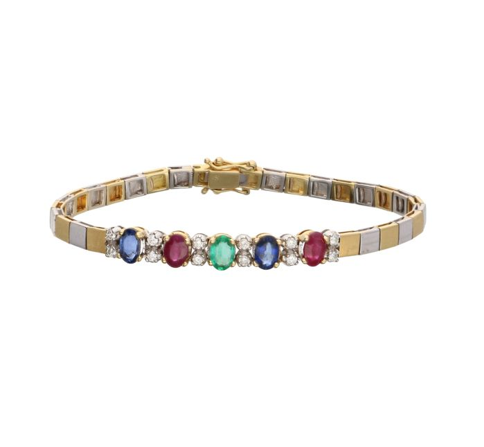 18 kt bi-coloured link bracelet set with ruby, sapphire, emerald and 12 brilliant cut diamonds of approx. 0.24 ct in total  - Length: 17.5 cm
