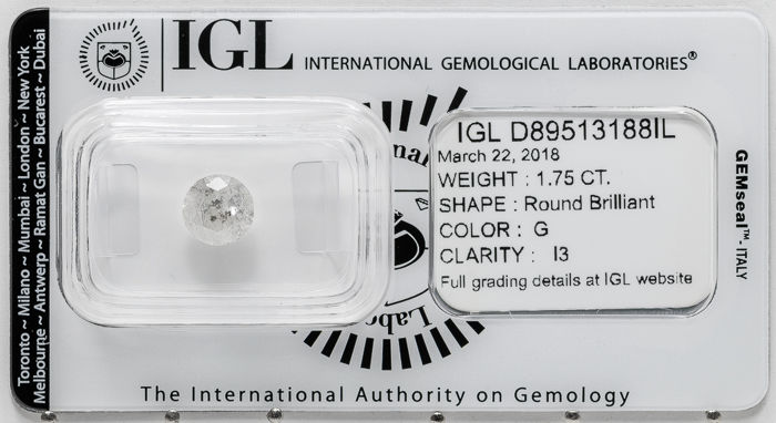1.75 ct brilliant cut diamond  G / I3   **** No Reserve ****