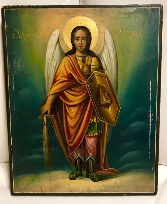"Greek or Russian icon ""Archangel St. Michael "" - 19th century"