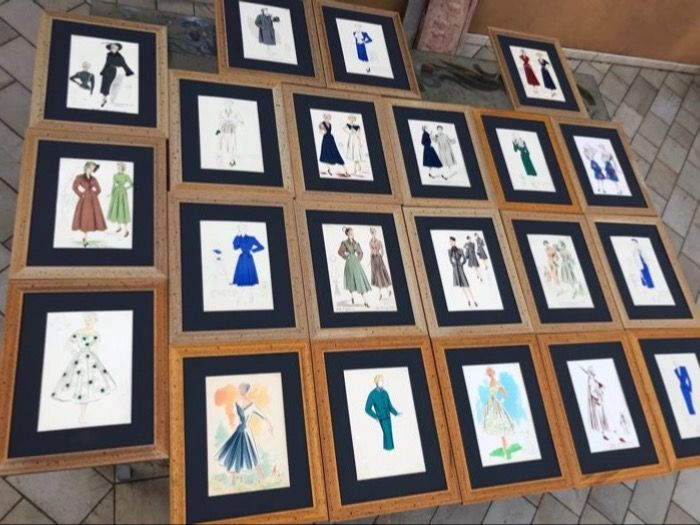 A Collection of 21 original high  Fashion plates from Italy and France 1950'-1960 - glazed and framed '
