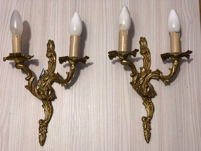 Pair of candlesticks made of gilded bronze, c. 1900 France
