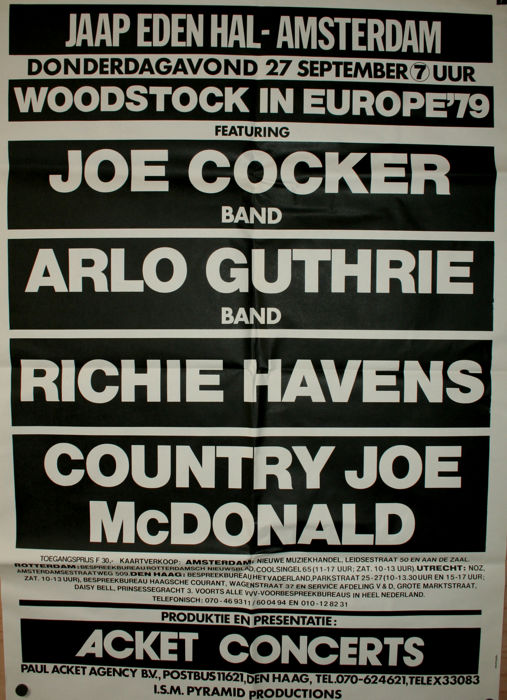 Woodstock Revival in Europe 1979, 27 sept 1979, Jaap Edenhal Amsterdam
