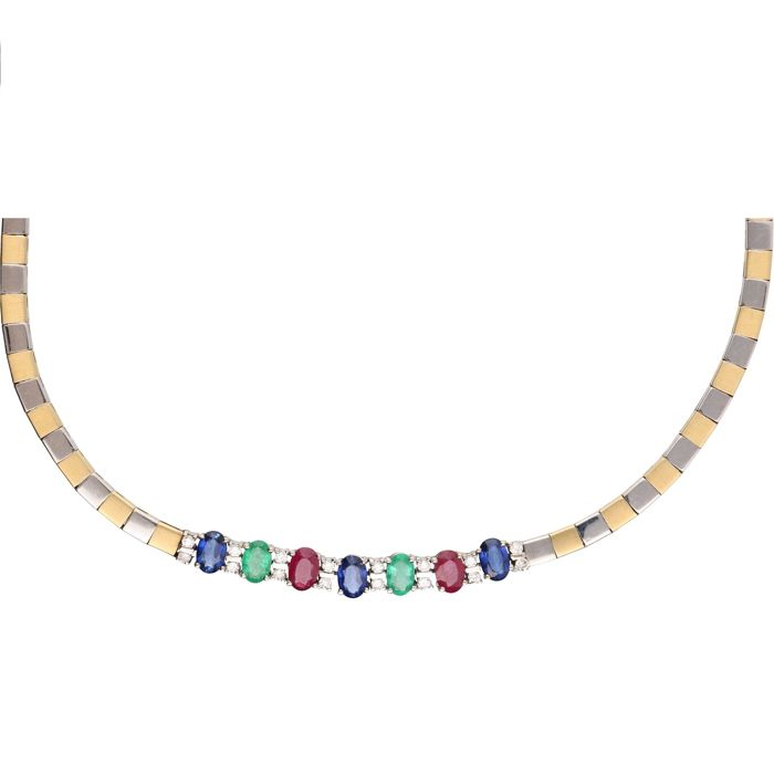 18 kt - Bi-colour, exclusive link necklace set with oval cut sapphire, ruby, emerald and 16 brilliant cut diamonds, approx. 0.32 ct in total, in a white gold setting - Length: 43 cm