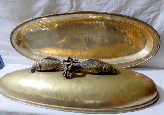 Extra Large Brass and Silver Plated Hand-Hammered Oval Fish Platter with Dome, Italy, ca. 1970's