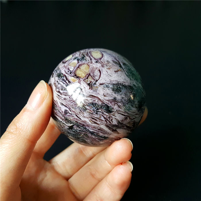 Top Deep Color Charoite Cabochon Gem Polished Sphere- 48mm -772Cts