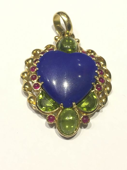 Pendant in 18 kt gold, lapis lazuli, rubies and peridots