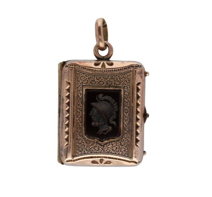 10 kt BLGG - rose gold pendant set with carved onyx - length x width: 3 x 1.8 cm