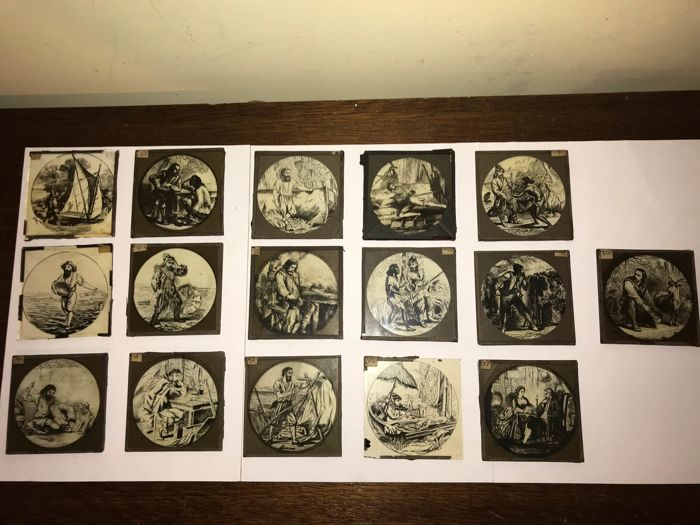 Antique engravings on glass (16 x) characters
