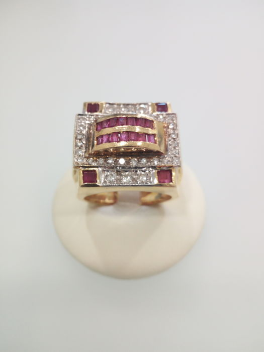 Made in Italy, 18 kt yellow gold ring with diamonds approx. 0.50 ct, and rubies - size: 19 mm