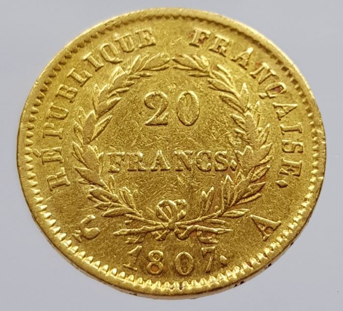 France - 20 Francs 1807 A (Paris) - Napoleon I - gold