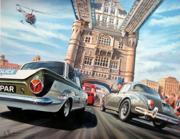 """Tower Bridge Chase"" Ford Cortina & Jaguar MK2 - Signed by the Artist"
