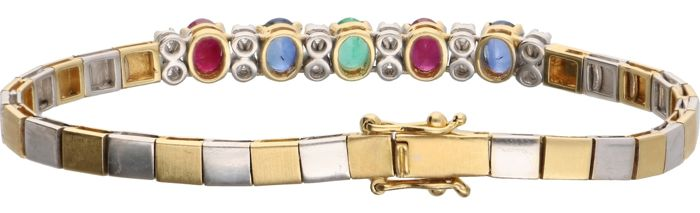 18 kt bi-coloured link bracelet set with ruby, sapphire, emerald and 12 brilliant cut diamonds of approx. 0.24 ct in total- Length: 17.5 cm