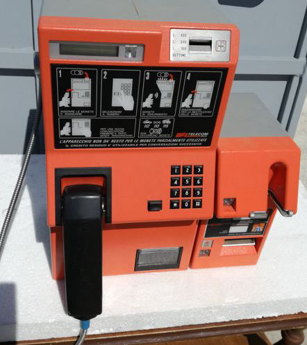 Coin and card operated pay phone, 1980s - Italy