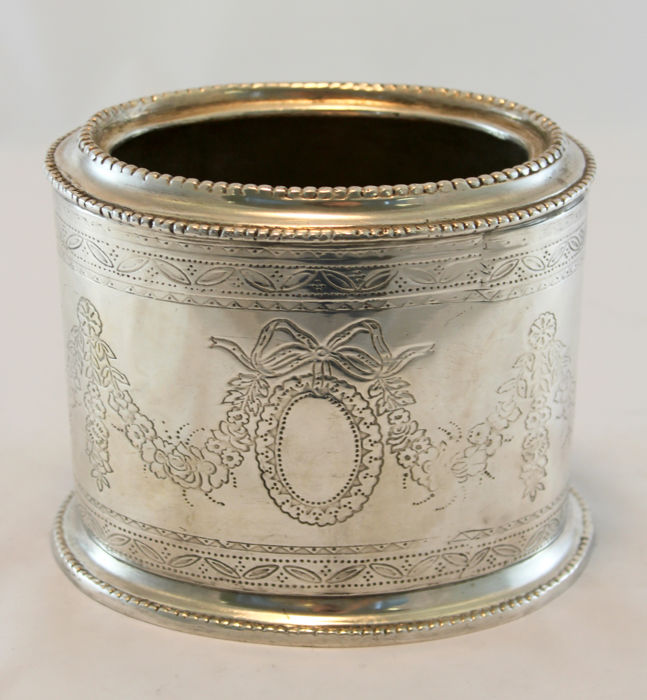 Antique Victorian silver plate tea caddy with decorative engravings, Circa.1880's