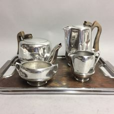 Tea and coffee set on tray, by Picquot Ware, England, ca. 1940