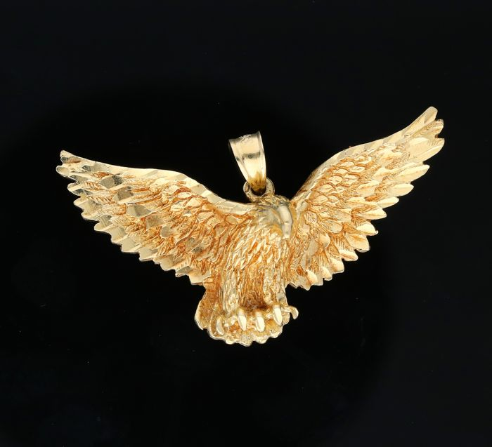 14 kt - Yellow gold pendant in the shape of a bird of prey - Length x width: