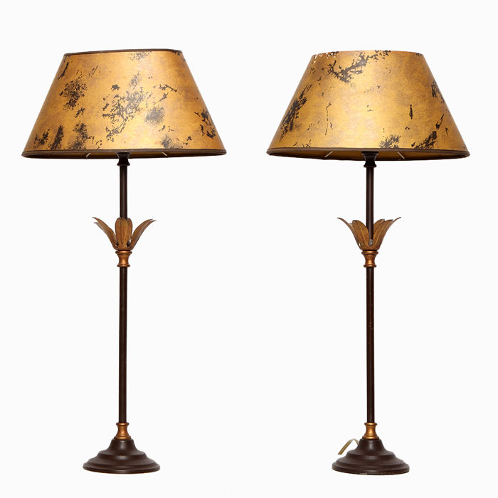 Pair of palm leaf table lamps 1970s catawiki pair of palm leaf table lamps 1970s aloadofball Image collections