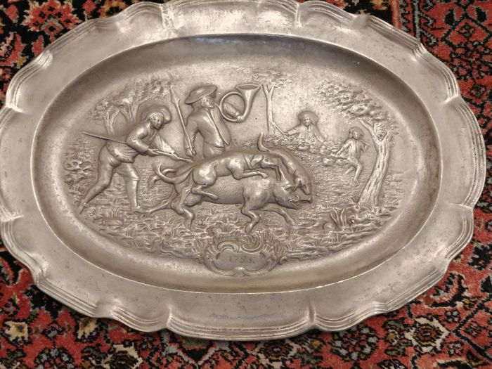 Antique Pewter Plate approx. 40x28 cm