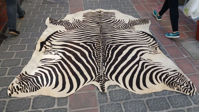 Printed zebra leather rug