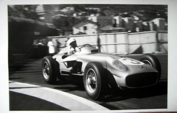 Rare Raceprint - Mercedes-Benz W196 #3 (Monoposto) Stirling Moss - Monaco Grand Prix 1955