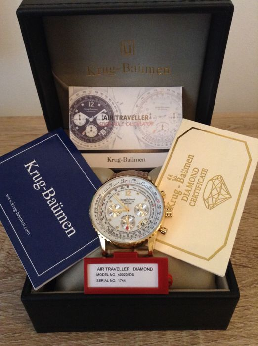 Krug-Baümen - Air traveler 8 Diamond18 ct gold pl chronograph - 400201DS - Heren - 2011-heden