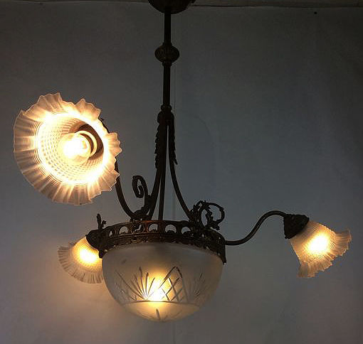 French neo classicist chandelier with four light points in brass, ca. 1900