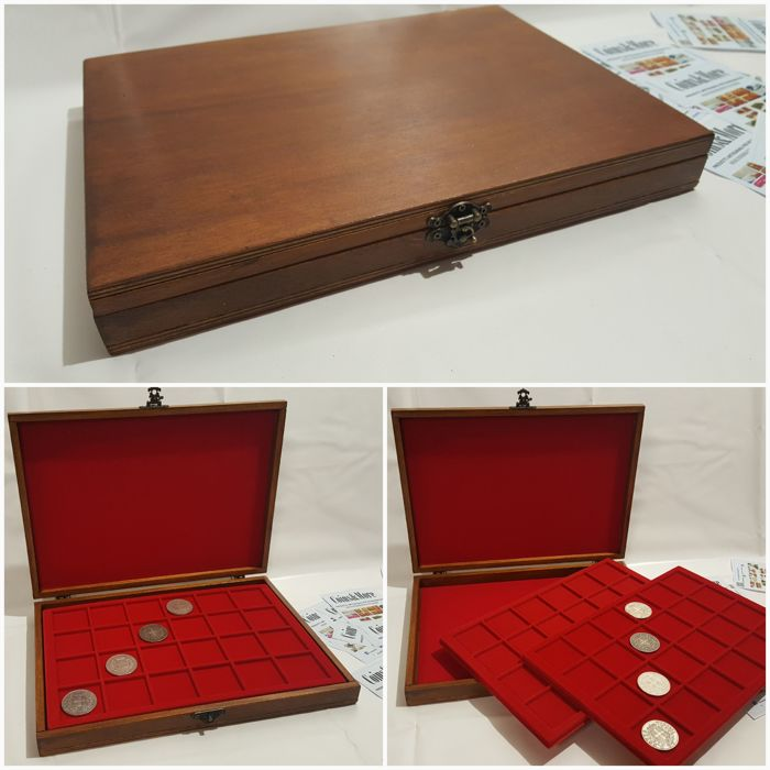 Accessories - Chestnut-coloured handmade coin case composed of two, removable coin compartment trays in red, flocked fabric