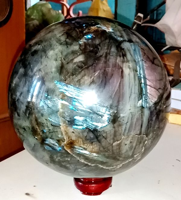 Huge Green Labradorite With Blue and Rambo Flash Good Quality Polished Healing Sphere Ball - 18 cm - 8200 gm