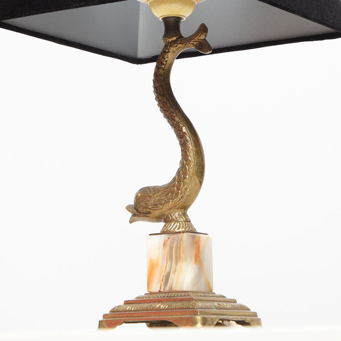 Brass koi fish table lamp on onyx pedestal 1960s catawiki brass koi fish table lamp on onyx pedestal 1960s aloadofball Image collections