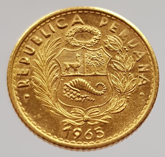 Peru - 10 Soles 1965 'Seated Liberty' - gold