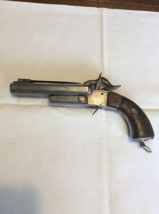 Pin fire pistol - double barrels with folding bayonet - 1860