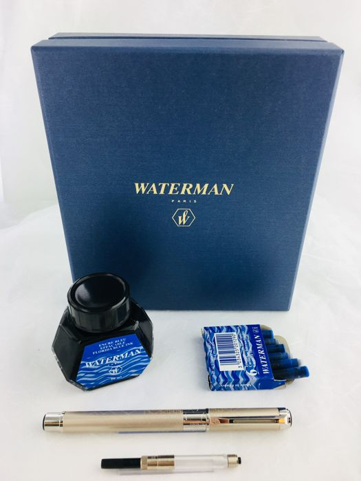 Waterman Perspective Deco Champagne fountain pen in luxury box with a pot  of ink and converter - Catawiki