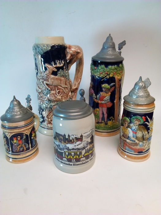 Lot of 5 vintage Beer Jugs - Germany
