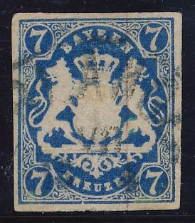 Bavaria - 1868 - national coat of arms on plinth, 7 Kreuzer Prussian blue, Michel 21 c tested twice Brettl BPP