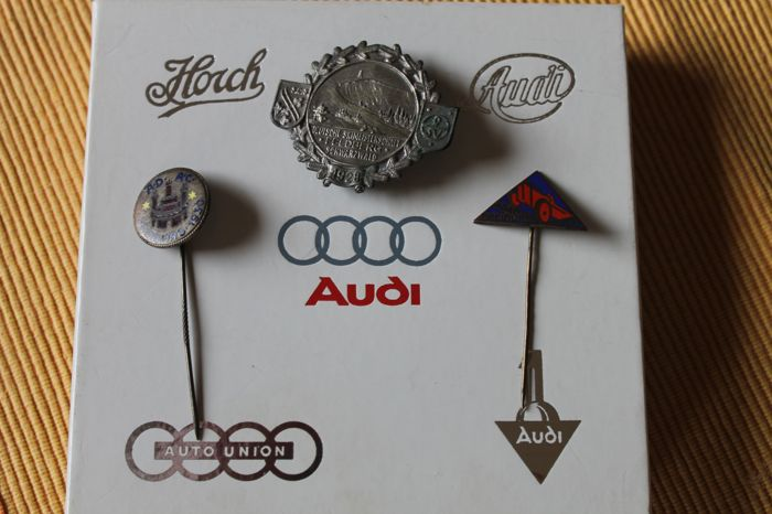 6 original Audi etc. lapel clips in a box and 3 lapel pins 2 x ADAC Freiburg and 1 x German Ski Championships Feldberg 1928