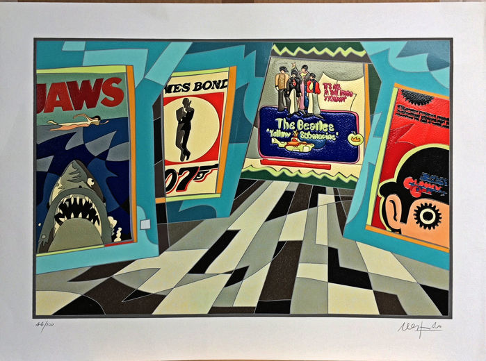 Ugo Nespolo - Jaws - serigrafia + collages originale