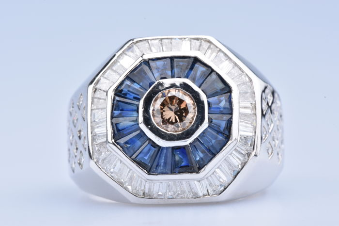18 karat Hvitt gull - Ring Diamant - Safir