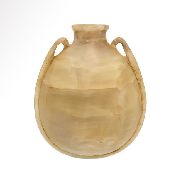 Egyptian New Kingdom Alabaster Cosmetic Flask, 7.8 cm H